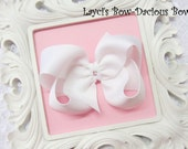 Custom WHITE Hair Bow, small, medium, large, extra large, Choose your Style, boutique, pinwheel, tails down, classic