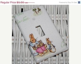 ON SALE Switchplate Lightswich Cover Kids Peter Rabbit Nursery handmade with Pottery Barn Kids fabric
