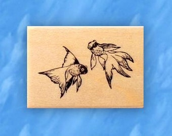 GOLDFISH mounted fish rubber stamp, Japanese, koi, aquarium or pond fish, Sweet Grass Stamps No.12