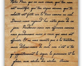 French Script - Lords Prayer mounted Christian rubber stamp, bible verse, scripture, background stamp, Sweet Grass Stamps #22