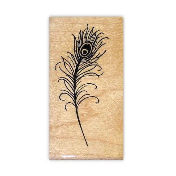 Peacock Feather Mounted rubber stamp, large, wedding, bridal, fantasy, Sweet Grass Stamps No.8