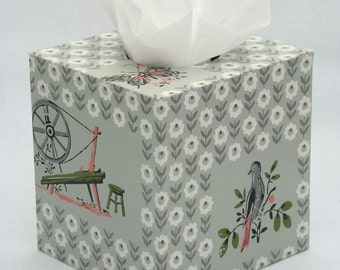 Charming Folk Pattern Geometric Floral Old-timey gadgets 1950s Vintage Wallpapered Tissue Box Cover