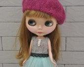 Babydoll Longhair Angola Wool Fuchsia Beret for Blythe Doll
