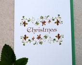 Kathie McCurdy Pressed Flowers & Botanical Art  Columbine Vine Christmas Holiday Cards 5x7 - Package of 12