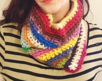 Multicolor stripe hand crocheted cowl scarf - rainbow crayon stripes