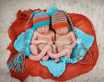Newborn Baby TWiN HaT SeT BaBY PHoTo PRoP Twin Newborn Knit Baby Hats 1 FCN Beanie & 1 MuNCHKiN Stocking Hat UNiSeX Aqua Orange CHooSe CoLOR
