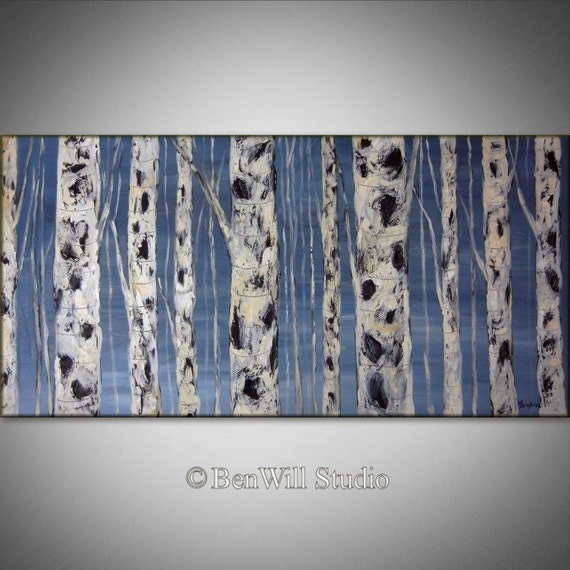 White Birch Tree Painting ORIGINAL Blue Gray White Birch Forest - LARGE Oil Painting 48x24 by BenWill