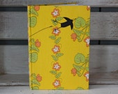 Bound notebook with appliqued fabric cover- retro bird