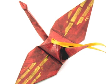 Gold Bamboo on Burgundy Origami Crane Ornament -- Handpainted