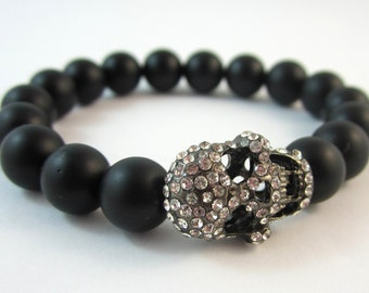 Rhinestone Skull and Black Onyx Stretch Bracelet.  Holiday Jewelry. Gifts for Her.