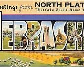 Vintage Nebraska Post Card Cotton Fabric Quilt Block