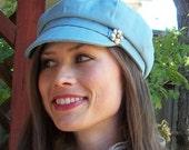 Womens Newsboy Cap in Blue Cotton Canvas - Womens Hat : Riley - M