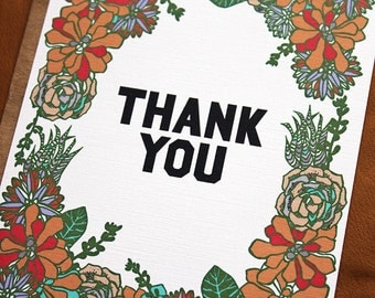 Succulent Thank You Flat Notes-set of 10