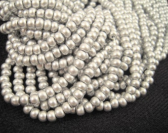 Brushed Silver Czech Glass Seed Beads, 6/0, MORE Beads, GREAT Price, 2 Strands, Metallic Silver, Brushed Silver Czech Beads SB077