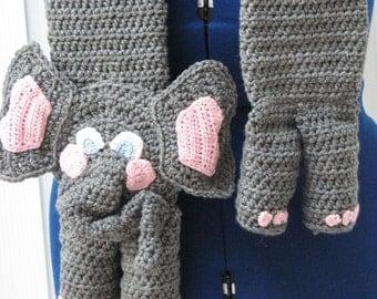 Crochet Pattern - Elephant Scarf Crochet Pattern - Elephant Pattern - Scarf Pattern - Animal Scarf Pattern - Digital Download