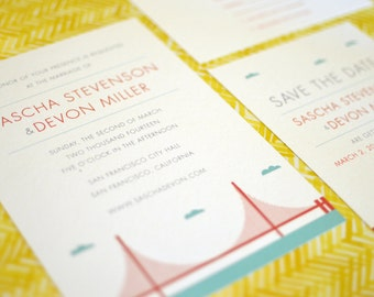 San Francisco Golden Gate Bridge Destination Wedding Invitation Collection