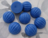 24 pcs. vintage fluted ridged blue plastic cabochons 12mm - f2963