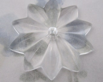 vintage clear glass flower sew on cabochon 30mm - f2913