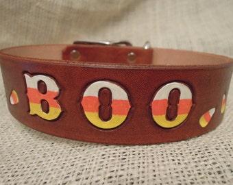 Halloween - Leather - Dog Collar - Candy Corn