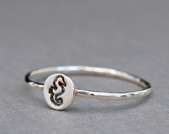 Tiny Sterling Silver Ring , Seahorse Ring , Seahorse Jewelry , Tiny Silver Ring , Thin Silver Ring