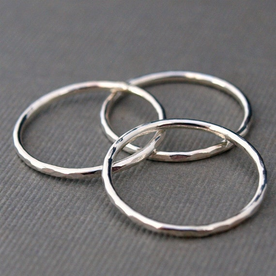 Sterling Silver Ring Stack , Sterling Silver Rings , Hammered Rings