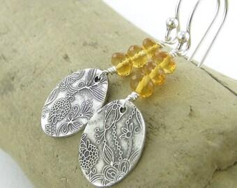 ON SALE Silver Dangle Earrings November Birthstone Jewelry Citrine Earrings Handmade Jewelry Sterling Silver Jewelry - Tracey