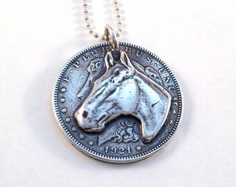 Silver Horse Dollar Pendant made from US Morgan Dollar Coin