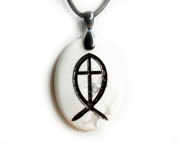 Ichthys ichthus christian jewelry jesus fish necklace for Jesus fish necklace