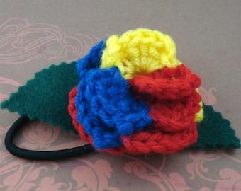 Crocheted Rose Ponytail Holder or Bracelet - Hero (SWG-HP-HEFC01)