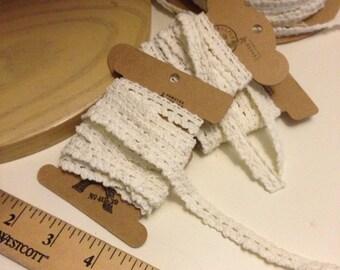 White Crochet Style  Cotton Lace 12 Yards