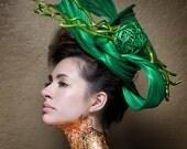 Kentucky Derby Hat - Haute Couture Hat -  Headpiece - Fascinato r-  Horse races -  Deep Sea Green Jinsin Straw