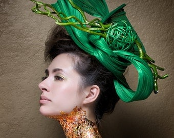 Kentucky Derby Hat - Haute Couture Hat -  Headpiece - Fascinato r-  Horse races -  Deep Sea Green Jinsin Straw