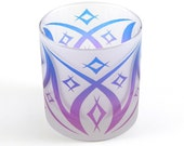 Windsor Diamonds Lowball DOF Tumbler Glass - Frosted and Painted Glassware - Custom Made to Order Barware