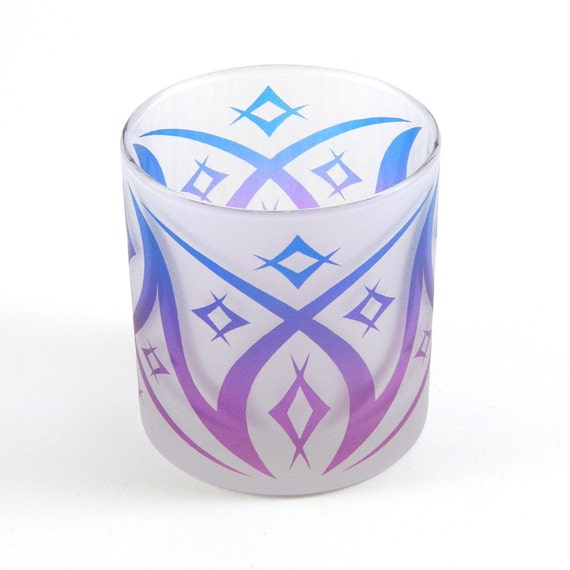 Windsor Diamonds Lowball DOF Tumbler Glass - Frosted Style - Etched and Painted Glassware - Custom Made to Order