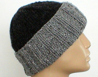 Charcoal pewter grey tweed watch cap, slouchy hat, brimmed beanie, color block hat, beanie hat, grey hat, toque, winter hat, mens womens hat