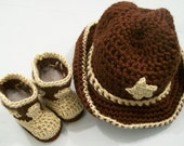 Western Hat and Boots -Baby Cowboy Gift Set--Baby Shower Gift  -Brown with Tan--#202