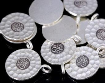 1KH-012 thai karen hill tribe silver 3 medium hammered om sign disc charm