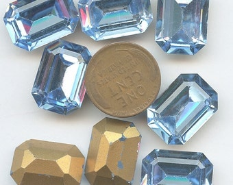 Large Rectangle Octagon  13 mm x 18 mmRHiNESTONES Ten (10) LIGHT BLUE Vintage Glass 13mm x 18mm Gold Foil Back jc 1813ltblu MORE AVAlLABLE