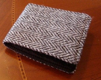 Grey Mens Wallet, Harris Tweed Herringbone  Wool, 7 Pocket Billfold, Water Resistant Interior, Fits all Currencies