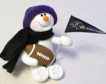 Baltimore Ravens football snowman ornament
