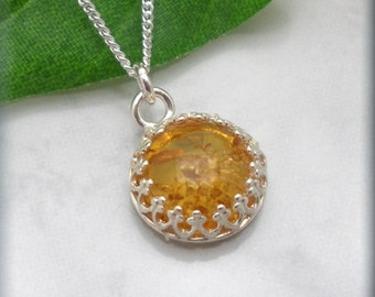 Golden Amber Necklace, 925 Sterling Silver, Amber Jewelry, Cabochon Necklace, Genuine Amber, Minimalist Necklace, Gift for Her