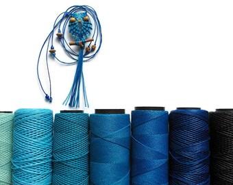 Shades of Blue Owl, Owl Pendant Necklace, Cavandoli Necklace, Micro Macrame Owl, Textile Jewelry, Adjustable Necklace, Knotted Owl Pendant