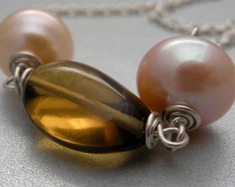 whiskey quartz necklace, gemstone necklace, freshwater peach pearl necklace