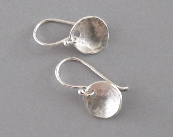 Tiny Silver Hammered Disk Earrings Pool Coin Sterling Silver DJStrang Drop Dangle Minimalist Boho