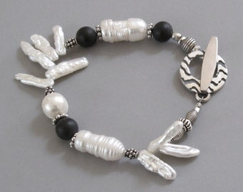 Pearl Onyx Sterling Silver Bracelet  Gemstone Bead DJStrang White Black Bridal Wedding Boho Cottage Chic