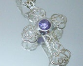 Sterling Silver Cross Iolite Stone Amethyst Color Necklace Italy 925