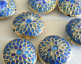 4 6x16mm Handmade Cloisonne Beads Gold Plated Brass Chrysanthemum Blueb2849