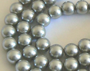 "32"" Strand 10mm Pearl Glass Round Beads Silver Gray"