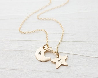 Gold Star and Moon Necklace Personalized Charm Necklaces Initial Pendants in Gold filled Gift for Wife Gifts for Best Friend Letter Monogram