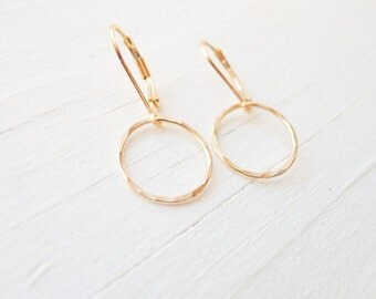 Hammered Gold Hoop Leverback Earrings - Dainty Lever back